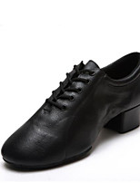 cheap -Men's Latin Shoes Cowhide Sneaker Thick Heel Dance Shoes Black