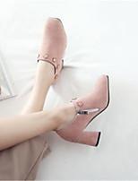 Недорогие -Жен. Обувь Полиуретан Наступила зима Армейские ботинки Ботинки На толстом каблуке Квадратный носок Ботинки Черный / Розовый / Миндальный