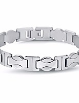 cheap -Men's Stylish / Link / Chain Chain Bracelet - Titanium Steel Creative, Wave Stylish, Simple, Classic Bracelet Silver For Street / Going out