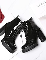 cheap -Women's Shoes Nappa Leather Winter Comfort Boots Chunky Heel Black