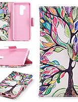 Недорогие -Кейс для Назначение LG G7 Кошелек / Бумажник для карт / со стендом Чехол дерево Твердый Кожа PU для LG G7