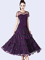 cheap -Ballroom Dance Outfits Women's Performance Tulle / Milk Fiber Ruching / Split Joint / Paillette Short Sleeve Natural Skirts / Top