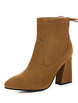 preiswerte -Damen Schuhe PU Herbst Winter Stiefeletten Stiefel Walking Blockabsatz Spitze Zehe Mittelhohe Stiefel Schwarz / Braun