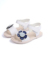 cheap -Girls' Shoes PU(Polyurethane) Spring & Summer Comfort Sandals Walking Shoes Flower / Magic Tape for Teenager White / Pink