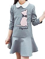 economico -Bambino Da ragazza Gatto Cartoni animati Manica lunga Vestito