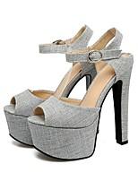 cheap -Women's Shoes Linen Spring & Summer Comfort Heels Chunky Heel Black / Gray