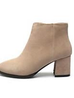 abordables -Femme Chaussures Daim Automne / Hiver Confort / Botillons Bottes Talon Bottier Noir / Beige / Vert Véronèse