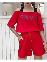 cheap -Women's Basic Puff Sleeve Set - Solid Colored, Tassel Pant