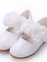 cheap -Girls' Shoes Faux Leather Spring &  Fall Flower Girl Shoes Flats Pearl for Kids White / Pink