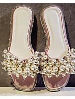 Недорогие -Жен. Обувь Сатин Лето Удобная обувь Тапочки и Шлепанцы На плоской подошве Черный / Серый / Розовый
