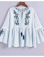 abordables -Tee-shirt Femme, Rayé / Fleur Brodée Basique