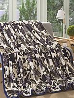 baratos -Velocino de Coral / Super Suave, Impressão Reactiva Floral / Geométrica Algodão / Poliéster cobertores