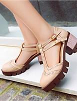 baratos -Mulheres Sapatos Couro Ecológico Primavera Conforto Saltos Salto Robusto Branco / Preto / Cinzento