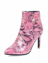 abordables -Mujer Zapatos PU Primavera / Otoño Confort / Botas hasta el Tobillo Botas Tacón Stiletto Plata / Marrón / Rosa