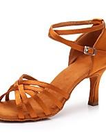 cheap -Women's Latin Shoes Satin Sandal / Heel Buckle Slim High Heel Customizable Dance Shoes Brown