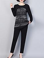 abordables -Mujer Básico / Chic de Calle Conjunto - Geométrico, Estampado Pantalón