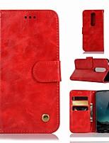 preiswerte -Hülle Für Nokia Nokia X6 Geldbeutel / Kreditkartenfächer / mit Halterung Ganzkörper-Gehäuse Solide Hart PU-Leder für Nokia X6