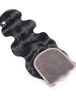 Недорогие -Естественные кудри 4x4 Закрытие Волнистый / Естественные кудри Швейцарское кружево Натуральные волосы
