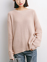 cheap -Women's Going out Long Sleeve Pullover - Solid Colored