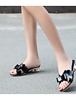 Недорогие -Жен. Обувь Наппа Leather Лето Удобная обувь Тапочки и Шлепанцы На низком каблуке Белый / Черный / Миндальный