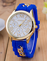 baratos -Mulheres Relógio de Pulso Chinês Relógio Casual Silicone Banda Fashion Preta / Branco / Azul