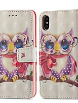 cheap -Case For Apple iPhone X / iPhone 8 Plus Wallet / Card Holder / with Stand Full Body Cases Owl Hard PU Leather for iPhone X / iPhone 8 Plus / iPhone 8