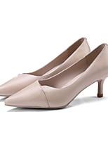 cheap -Women's Shoes Nappa Leather Spring & Summer Comfort Heels Stiletto Heel Black / Almond