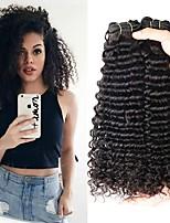 Недорогие -3 Связки Малазийские волосы Кудрявый Натуральные волосы Человека ткет Волосы / Удлинитель 8-28 дюймовый Ткет человеческих волос Машинное плетение Лучшее качество / 100% девственница / вьющийся