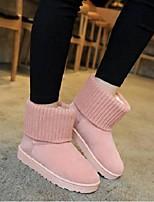abordables -Femme Chaussures Daim Hiver Confort Bottes Talon Plat Noir / Gris clair / Rose