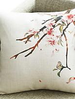 Недорогие -1 штук Хлопок / Лён Монограмма, Цветочный принт Цветы