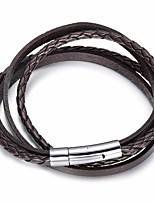 cheap -Men's Stylish / Braided Wrap Bracelet / Loom Bracelet - Leather, Stainless Creative Stylish, European, Trendy Bracelet Black / Coffee For Street / Going out