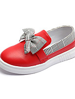 cheap -Girls' Shoes PU(Polyurethane) Spring & Summer Comfort Loafers & Slip-Ons Walking Shoes Bowknot for Teenager White / Red / Pink