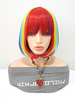 cheap -Synthetic Wig Straight Bob Haircut Synthetic Hair Middle Length Women / Highlighted / Balayage Hair / With Bangs Red Wig Women's Mid Length Capless Rainbow