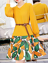 cheap -Women's Sophisticated Blouse - Solid Colored / Geometric, Print Skirt