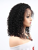 cheap -Remy Human Hair Lace Front Wig Brazilian Hair Afro Curly Wig Asymmetrical Haircut 130% / 150% / 180% Women / Sexy Lady / Natural Black Women's 8-14 Human Hair Lace Wig