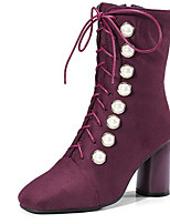 cheap -Women's Shoes Suede Fall & Winter Fashion Boots Boots Chunky Heel Square Toe Mid-Calf Boots Rivet Black / Burgundy / Party & Evening