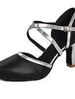 preiswerte -Damen Schuhe für modern Dance Lackleder Absätze Schnalle Kubanischer Absatz Maßfertigung Tanzschuhe Schwarz und Silbern