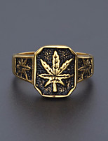 cheap -Men's Maple leaf Statement Ring / Ring - Stainless Leaf Vintage, European, Hip-Hop 8 / 9 / 10 Gold For Street / Going out
