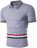cheap -Men's Work Polo - Striped Shirt Collar / Short Sleeve