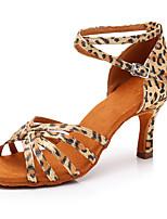 baratos -Mulheres Sapatos de Dança Latina Cetim Sandália / Salto Leopardo / Presilha Salto Alto Magro Personalizável Sapatos de Dança Leopardo