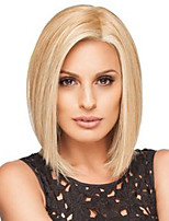 cheap -Synthetic Wig Straight Blonde Bob Haircut / Side Part Synthetic Hair 12 inch African American Wig Blonde Wig Women's Mid Length Capless
