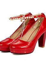 Недорогие -Жен. Обувь Полиуретан Весна Удобная обувь Обувь на каблуках На толстом каблуке Белый / Черный / Красный