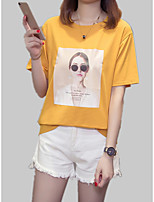 cheap -Women's T-shirt - Solid Colored / Letter / Portrait Print