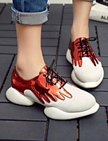 cheap -Women's Shoes Nappa Leather Summer Comfort Sneakers Flat Heel Closed Toe Silver / Red / Pink