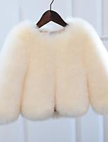 Недорогие -Дети Девочки Однотонный Длинный рукав Куртка / пальто