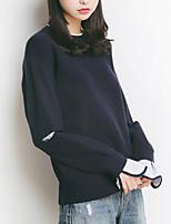 economico -Per donna Per uscire Manica lunga Pullover Tinta unita