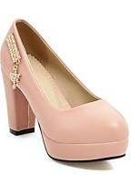 Недорогие -Жен. Обувь Полиуретан Наступила зима Удобная обувь Обувь на каблуках На толстом каблуке Черный / Бежевый / Розовый