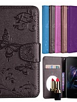 cheap -Case For OnePlus OnePlus 6 Card Holder / Flip / Pattern Full Body Cases Solid Colored / Butterfly Hard PU Leather for OnePlus 6