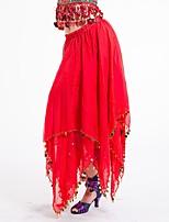 abordables -Danza del Vientre Pantalones y Faldas Mujer Rendimiento Raso Fruncido Cintura Baja Faldas