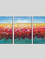 abordables -Peinture à l'huile Hang-peint Peint à la main - Abstrait / A fleurs / Botanique Moderne Toile